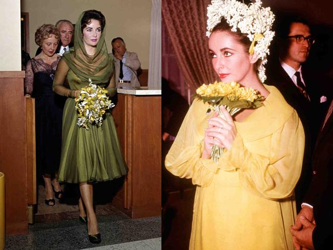 Elizabeth Taylor en dos de sus bodas