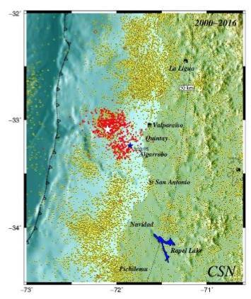 Puntos rojos dan cuenta de la actividad sísmica a partir de abril de este año en la región de Valparaíso | Centro Sismológico Nacional