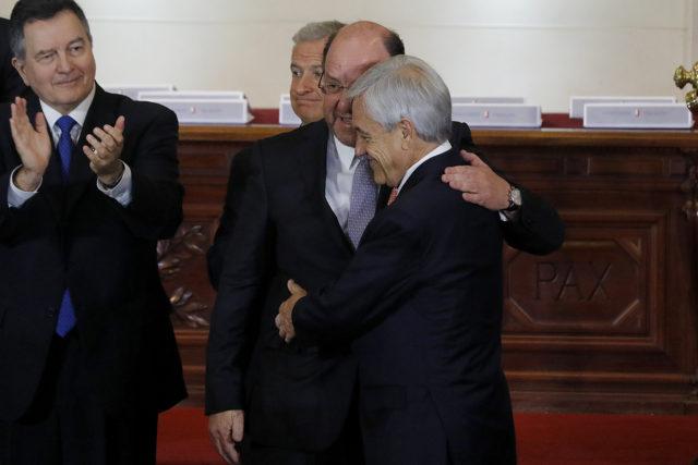 Piñera y Moreno en la ceremonia del exCongreso Nacional. Leonardo Rubilar | Agencia UNO