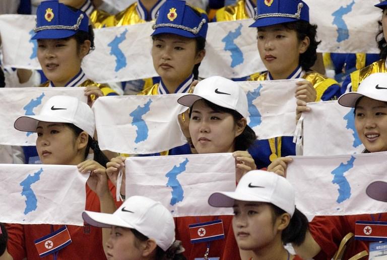 Bandera de la Unificación Coreana en los 14º Juegos Asiáticos en Busan en 2002 | Prakash Singh | AFP
