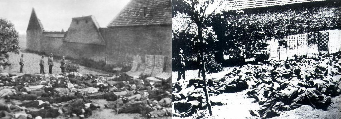Cuerpos de los fusilados por los Nazis. Al fondo en la muralla se ven colchones usados para evitar que las balas rebotaran