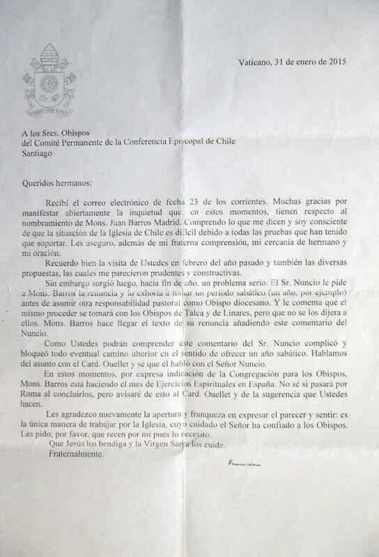 Carta del Papa sobre obispo Barros