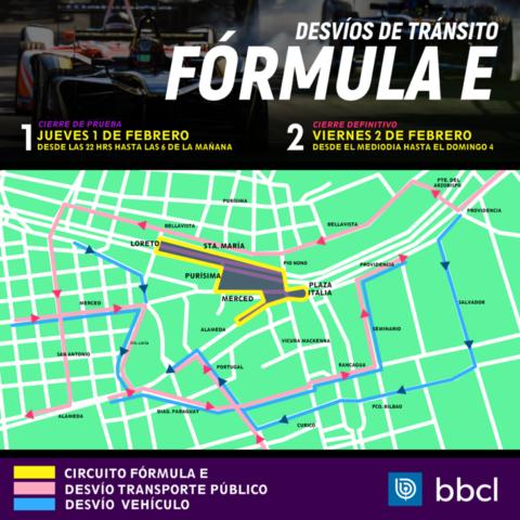Estos son los nuevos cortes de tránsito en Santiago — Fórmula E