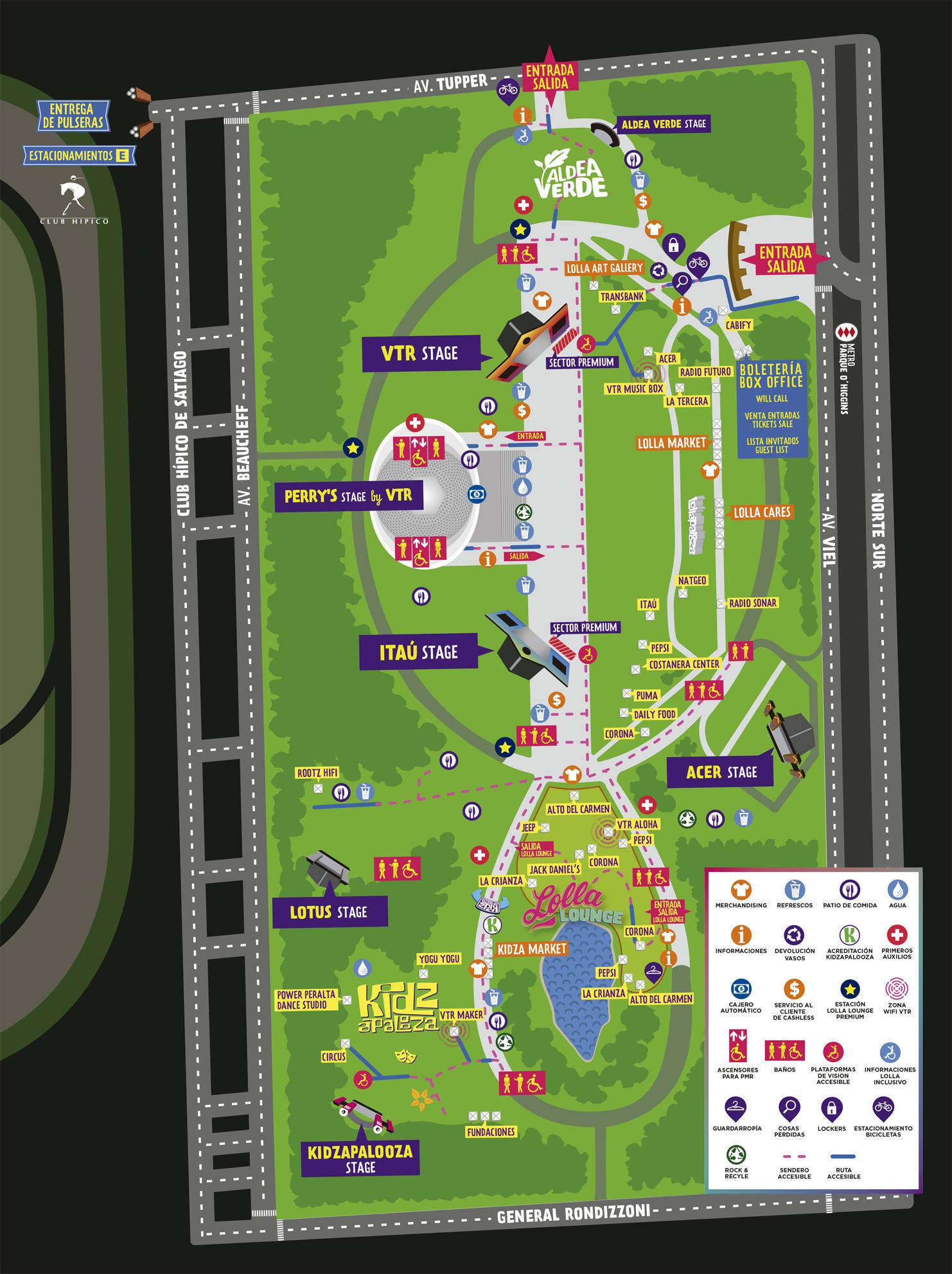 Mapa del Parque O'Higgins.