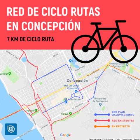 Mapa con red de ciclovías penquistas (BBCL)