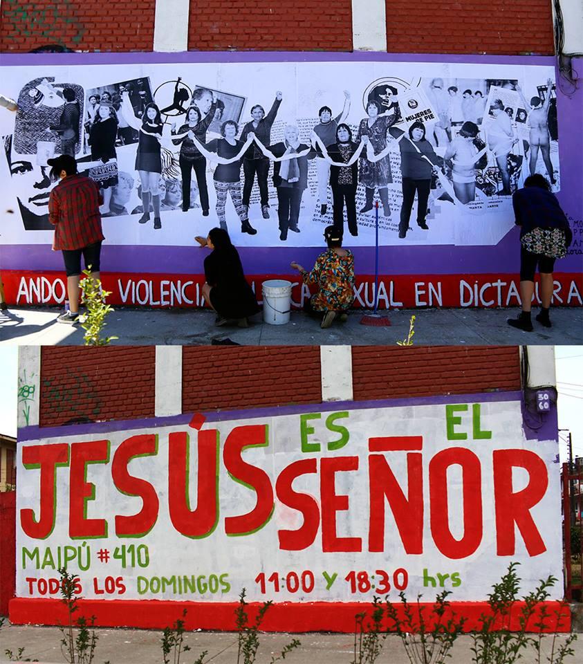 """""""Antes"""" y """"Después"""" del mural   Centro cultural por la memoria """"La Monche� y Pititore Ernesto Guerrero en Facebook"""