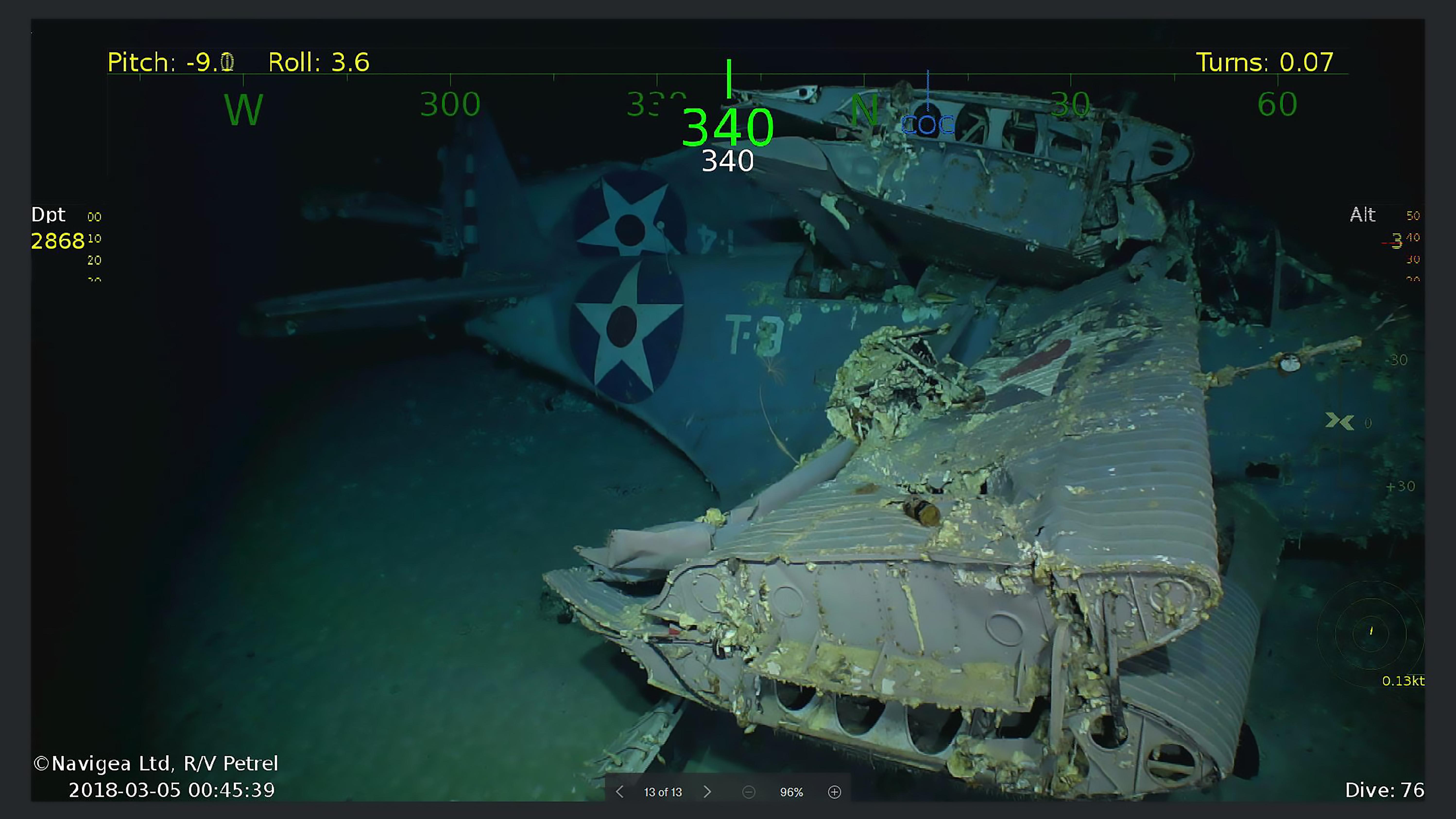 Restos del USS Lexington
