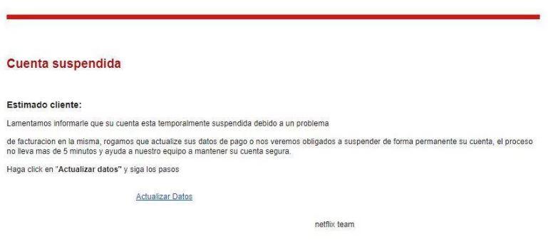 Falso correo enviado supuestamente por Netflix