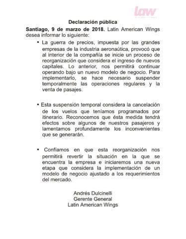 Comunicado de prensa de LAW