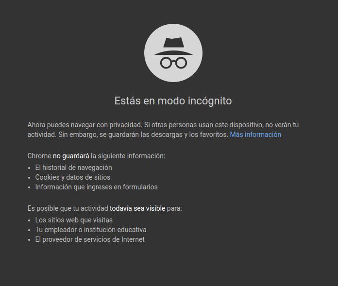 Mensaje en Google Chrome
