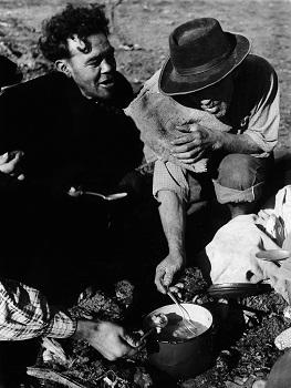 Cuchareo en Hacienda Hospital, Angostura de Paine, 1955. LOM (c)