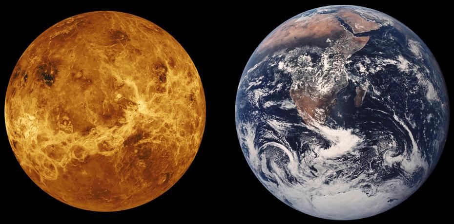 Comparación entre Venus y Tierra (CC) Wikimedia Commons