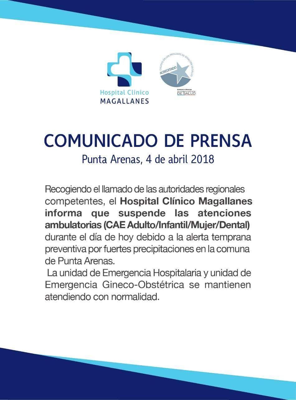 Comunicado Hospital Clínico de Magallanes