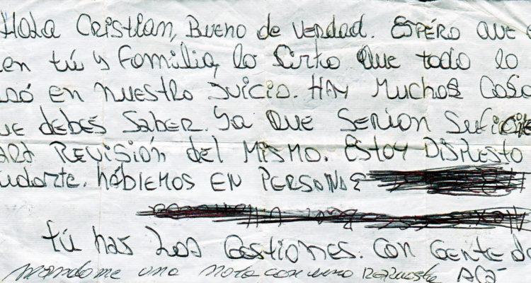 Primera carta que envió Jorge Cepeda a Cristian Ajraz en prisión