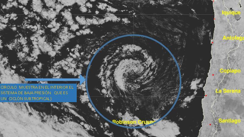 Ciclón según sensores de Meteochile.