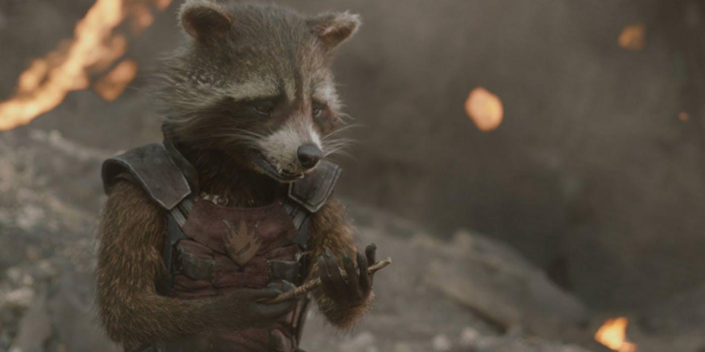 Rocket Raccoon y la ramita que quedó de Groot tras su muerte en Guardianes de la Galaxia Vol. 1