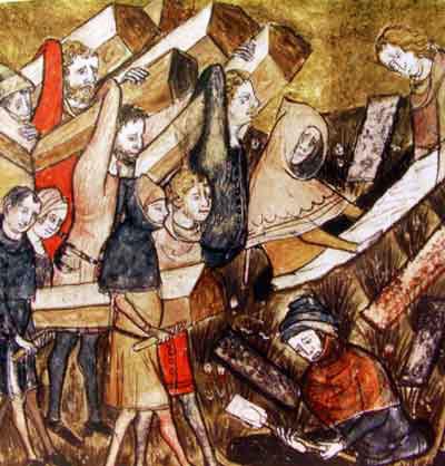 """Ilustración de la peste en la """"Crónicas de Gilles Li Muisis"""" (CC) Wikimedia Commons"""