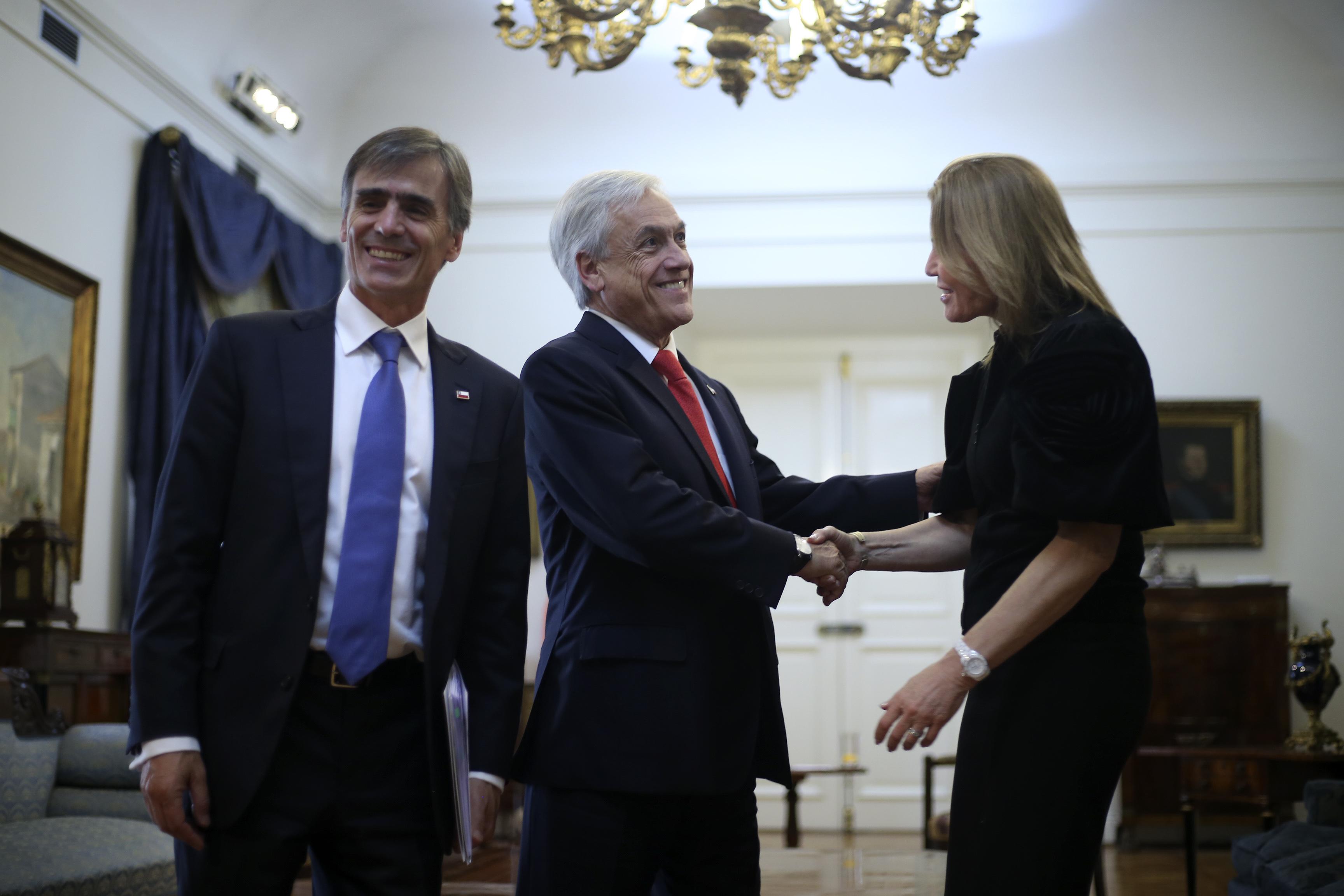 Piñera recibe a Teresa Carlson en La Moneda. Cristóbal Escobar | Agencia UNO