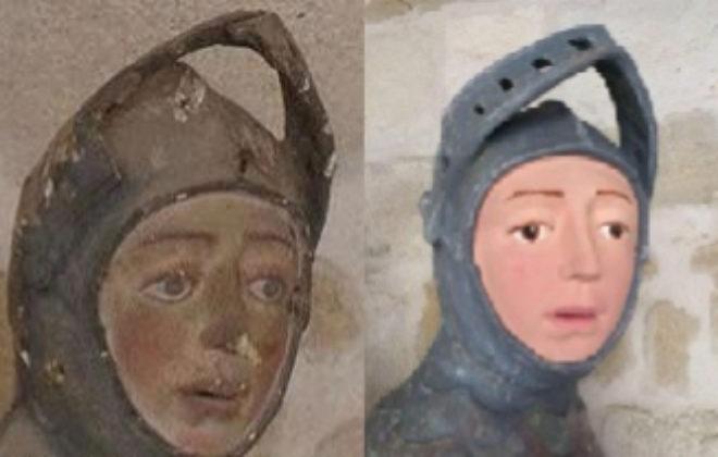 Detalle: San Jorge y el dragón (Después de la restauración)
