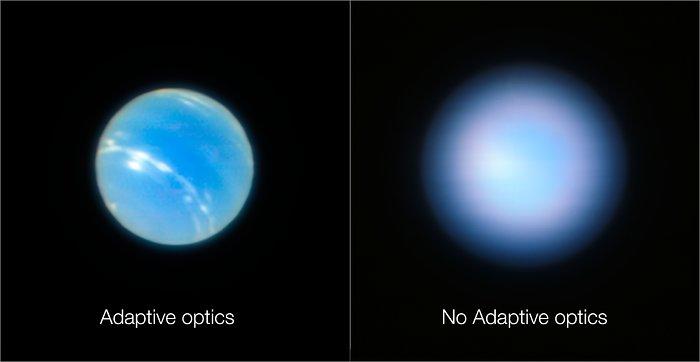 Imágenes de Neptuno obtenidas por el VLT con y sin óptica adaptativa |ESO