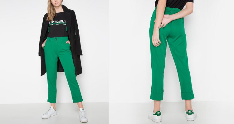 Pantalones rectos en verde