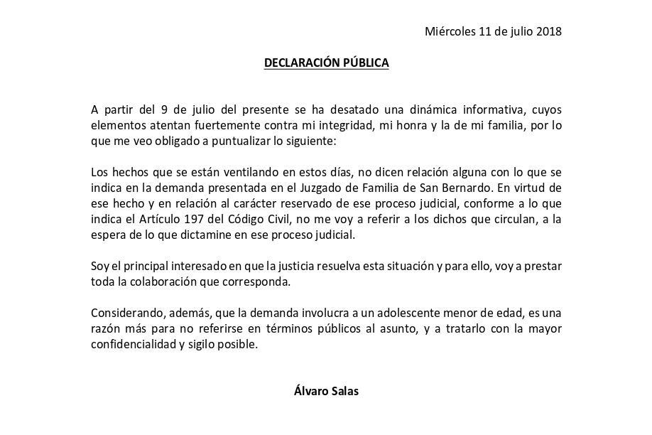 Declaración �lvaro Salas