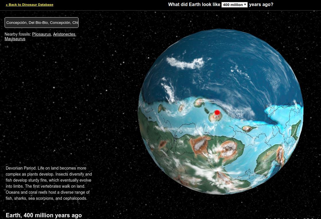 En el área roja se ubicaba Concepción hace 400 millones de años atrás | dinosaurpictures.org