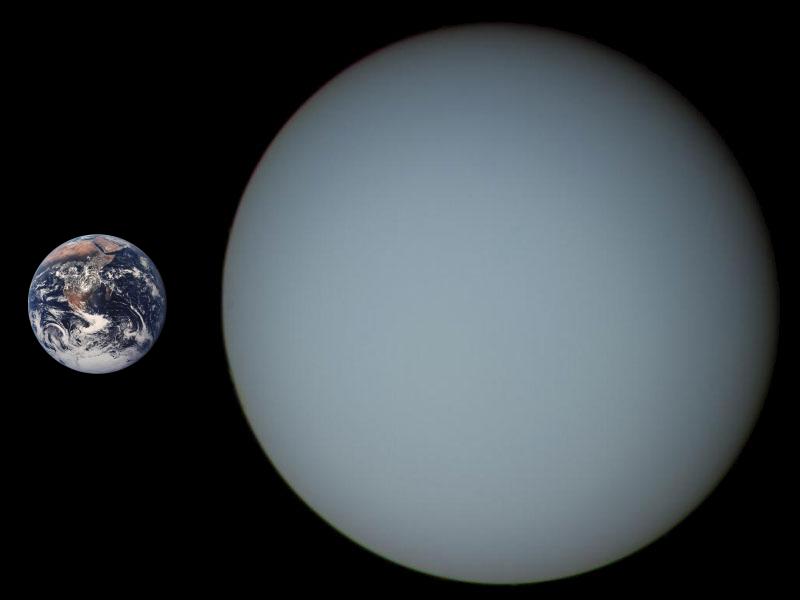 Comparación entre Urano y la Tierra (CC) Wikimedia Commons