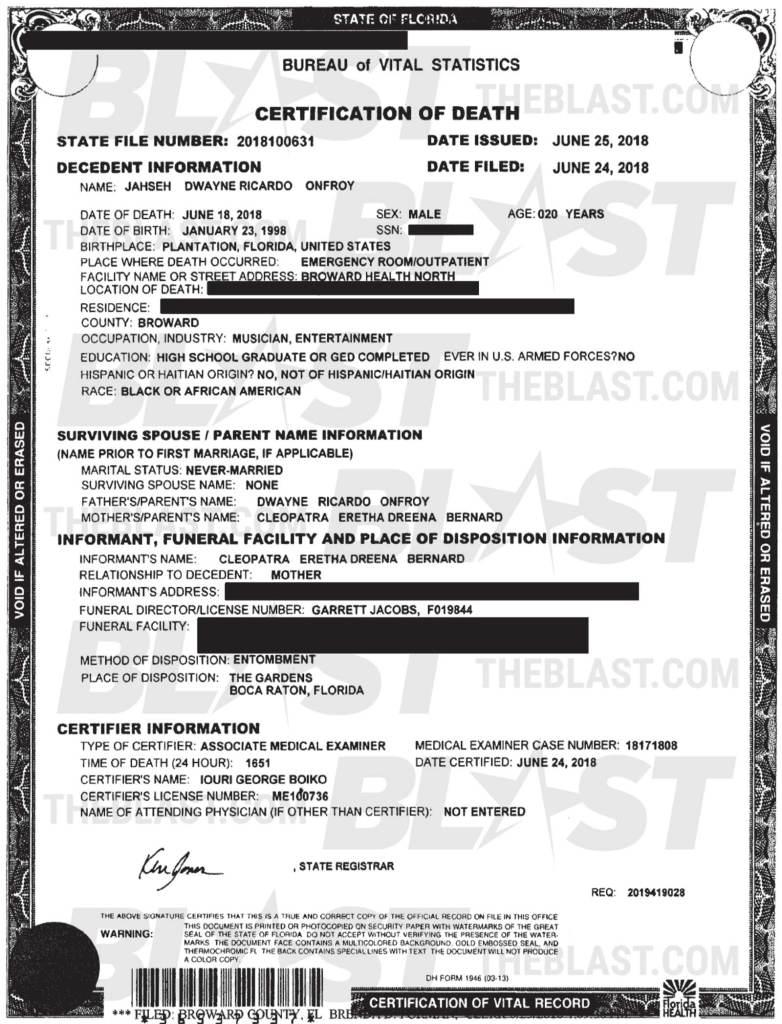 Testamento y certificado de muerte de XXXTentacion