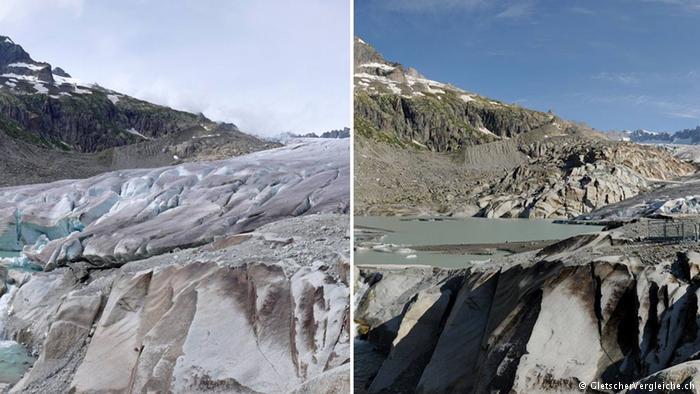 Glaciar del Ródano, Suiza, en 2007 y 2014.