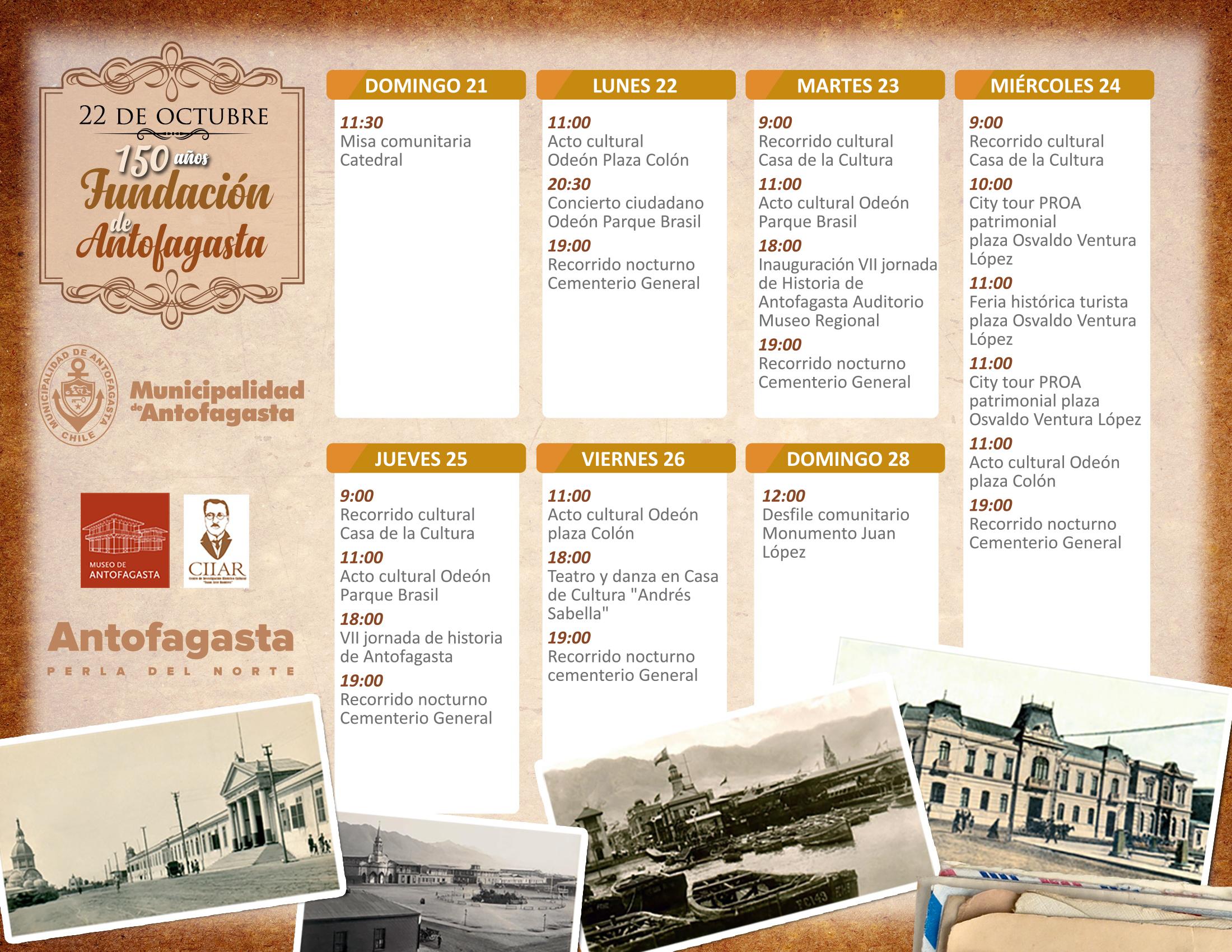 Calendario de actividades por los 150 años de Antofagasta