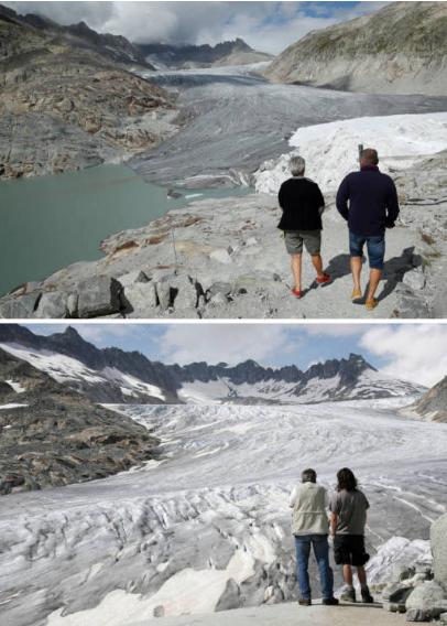 Glaciar Ródano. en 2018 (arriba) y 2009 (abajo)