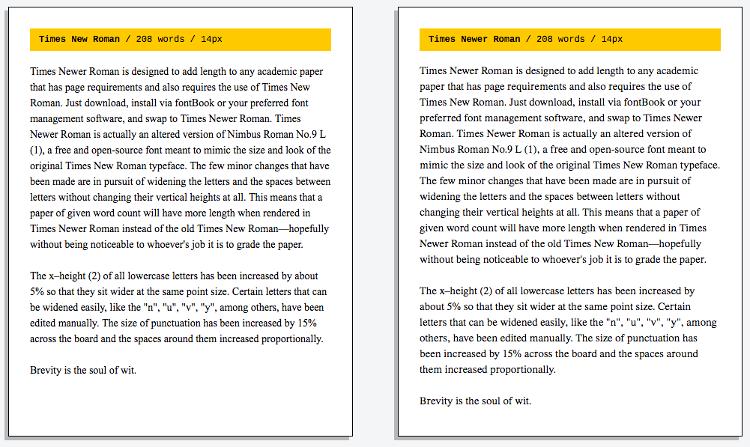Times New Roman vs Times Newer Roman