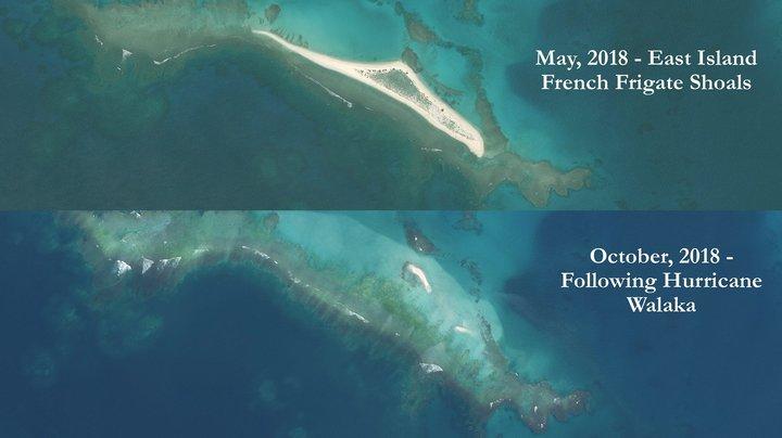 Arriba está la isla del Este en mayo de 2018. Abajo, cómo luce ahora | www.soest.hawaii.edu