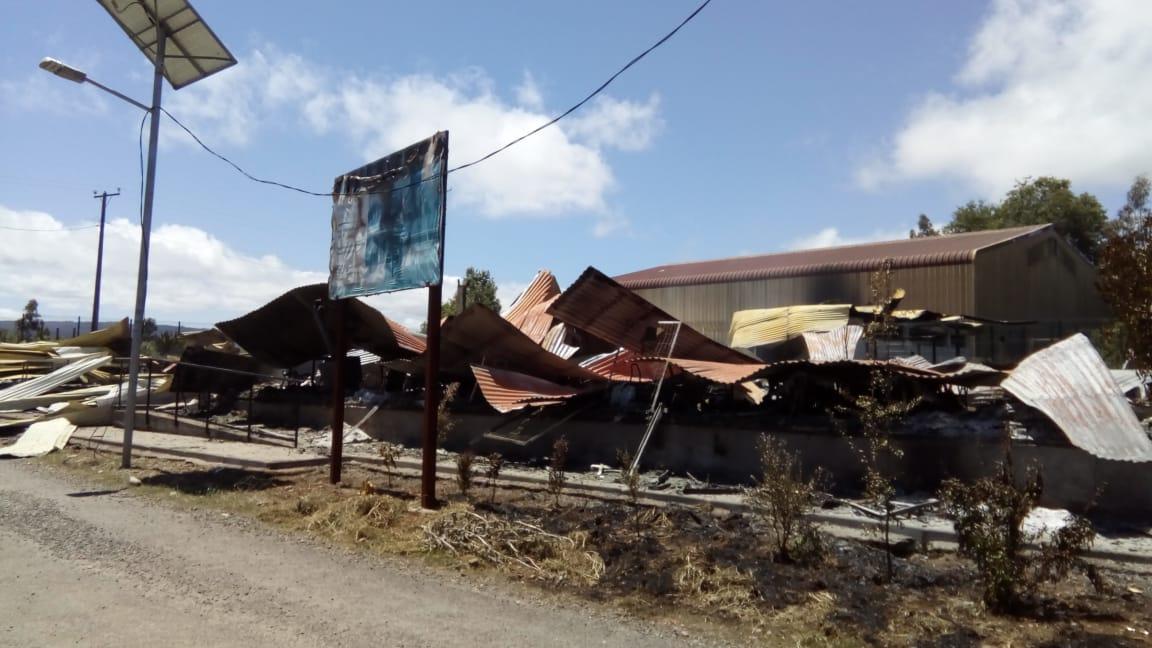 Escuela quemada en Ranquilhue, Tirúa | Víctor Carrasco (RBB)