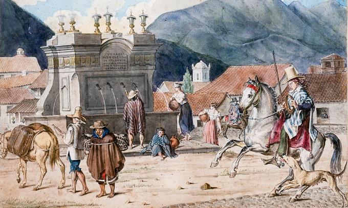 François Désiré Roulin, Place de St. Victorin, à Bogota, 1824,  Banco de la República de Colombia (c)