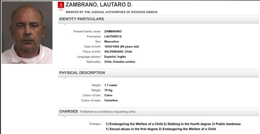 Así busca la Interpol a Zambrano