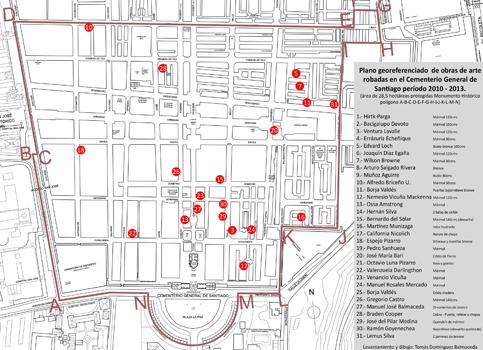Plano de ubicación de esculturas robadas, Cementerio General 2010-2013, Tomás Domínguez Balmaceda (c)