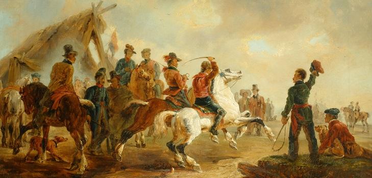 Johann Moritz Rugendas, Carrera cuadrera, 1845 Col. Mario López Olaciregui, foto de Nicolás Vega (c)