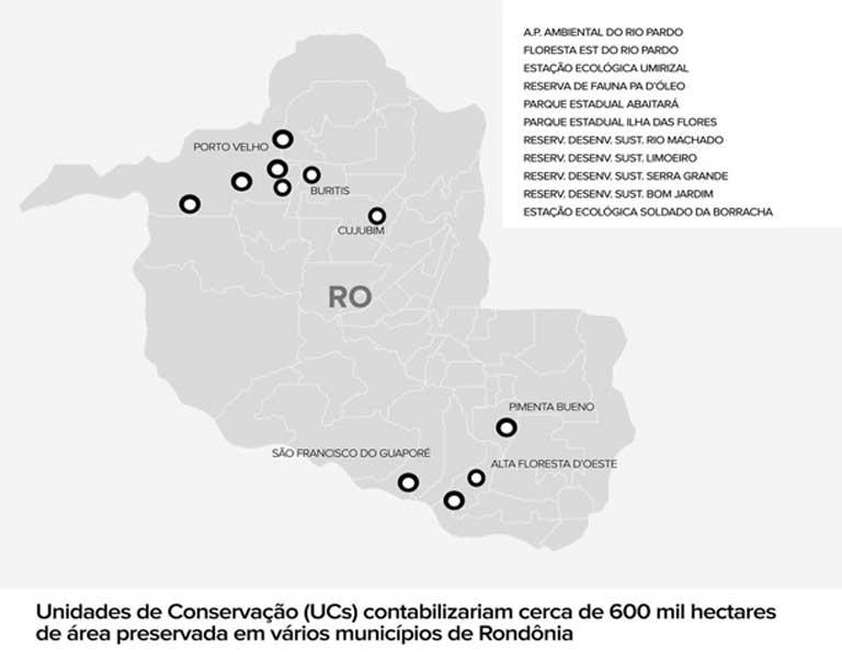 Mapa de las 11 áreas protegidas de reciente creación que han sido eliminadas gracias a las maniobras legislativas de la bancada ruralista, el grupo de presión de la agroindustria brasileña. Foto: Cortesía de Arte G1.