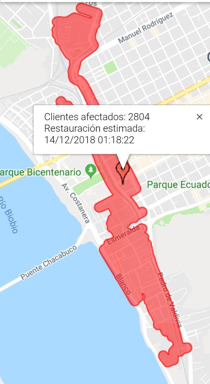Zonas afectadas según CGE