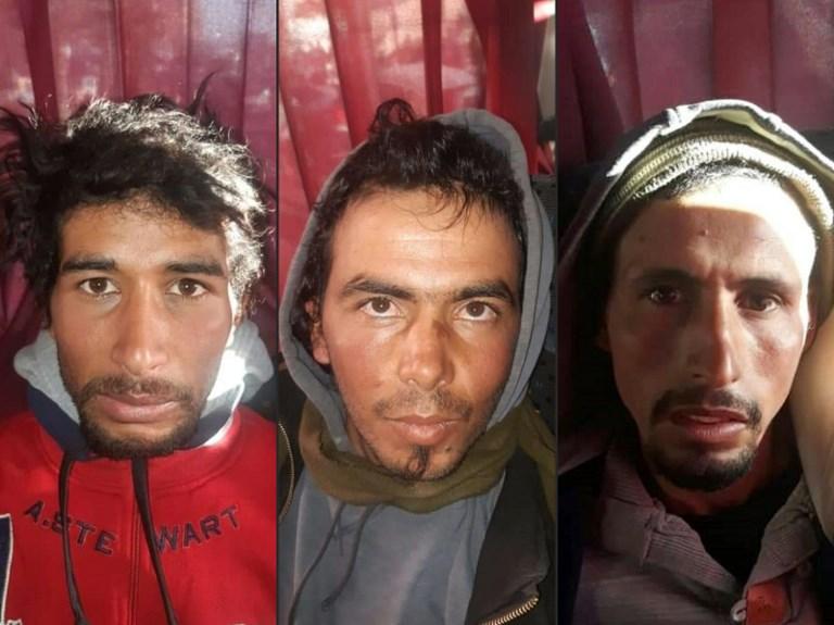 Rachid Afatti, Ouziad Younes y Ejjoud Abdessamad (izquierda a derecha) | Agence France-Presse