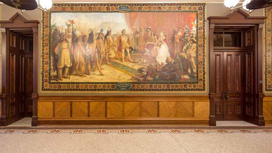 Uno de los murales sobre Cristóbal Colón en la universidad estadounidense | Universidad de Notre Dame