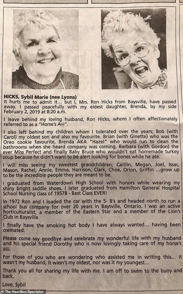 Orbituario de Sybil Marie Hicks   Daily Mail