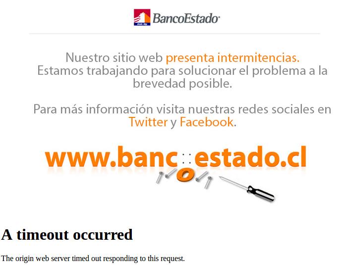 Página de BancoEstado, pasadas las 18:00 horas   Captura