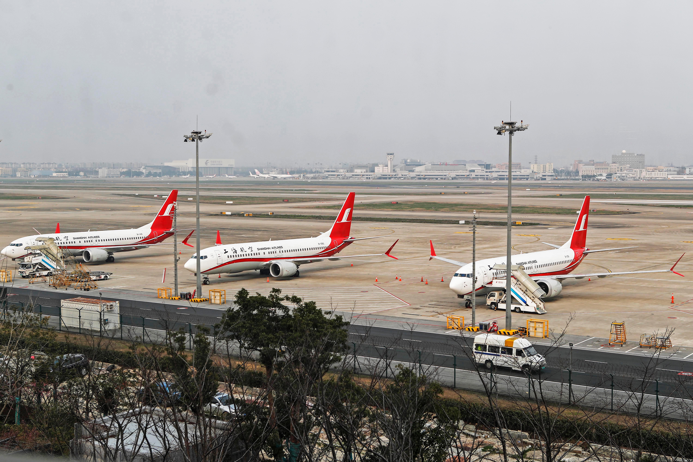 Tres modelos Boeing 737 MAX 8 en el aeropuerto internacional de Shanghai | STR | Agence France-Presse