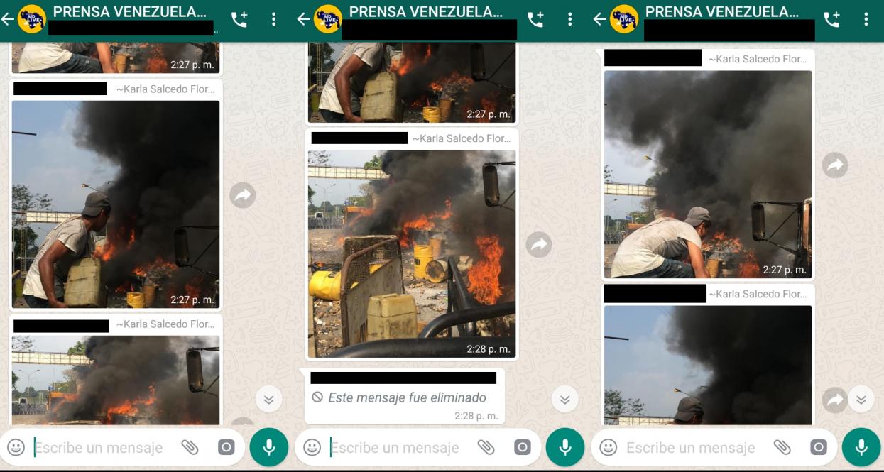 Captura de pantalla hecha el 8 de marzo 2019 de una conversación grupal en WhatsApp