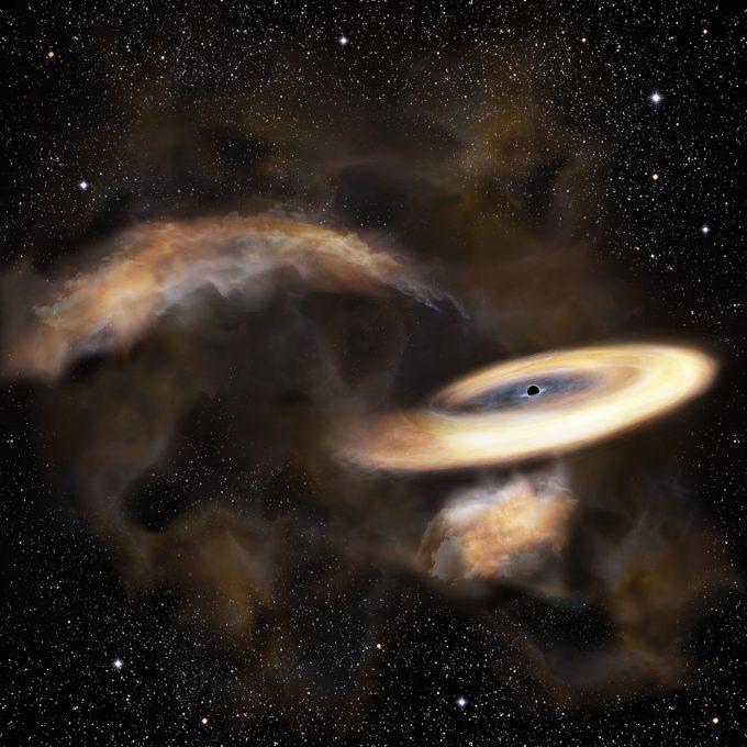 Representación artística de nube de gas que gira alrededor de agujero negro | NAO