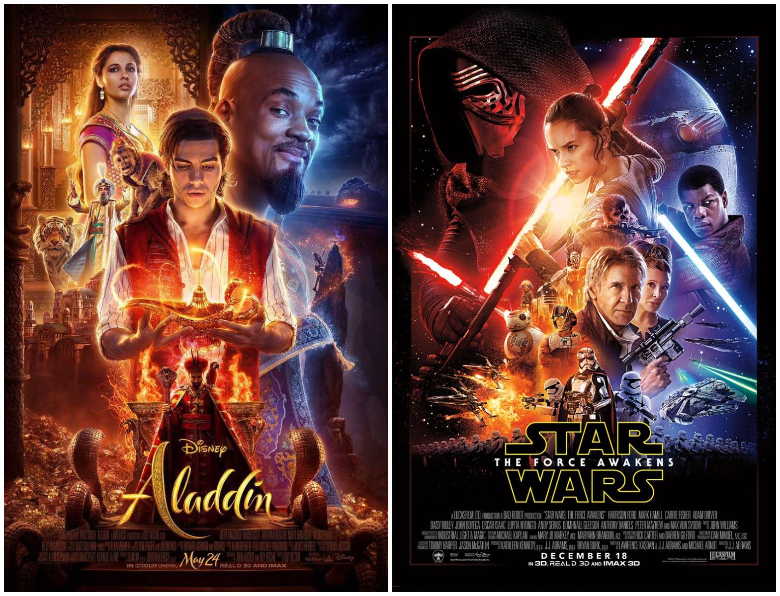 Pósters de Aladdín (izquierda) y Star Wars - Episodio VII (derecha)