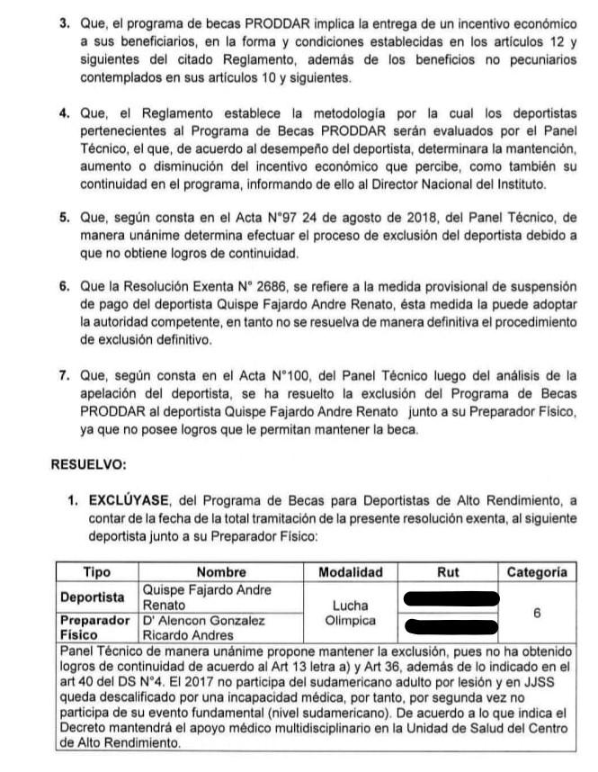Resolución André Quispe
